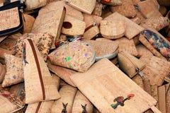 Cork purses, Lagos, Portugal. Portuguese cork purses on a market stall, Lagos, Algarve, Portugal, Europe Stock Photography