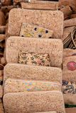 Cork purses, Lagos, Portugal. Portuguese cork purses on a market stall, Lagos, Algarve, Portugal, Europe Stock Images