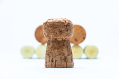 Cork and pyramid made of bottle corks Royalty Free Stock Photos