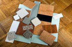 Cork Quartz Glass Tiles And Wood Floor Stock Photo