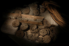 Cork, rope and stones. On wooden background Stock Image