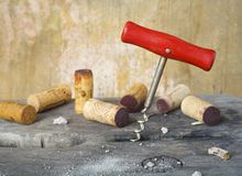 Cork screw and wine corks. In a wine cellar, close up, after tasting vintage wines Stock Images