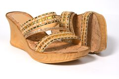 Cork shoes. Pair of cork shoes Royalty Free Stock Images