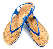 Cork soled blue flip flop sandals. Isolated on white background Royalty Free Stock Image