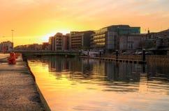 Cork stad bij zonsondergang Stock Foto's