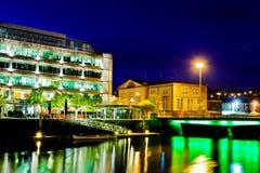 Cork Stad 's nachts, Ierland Royalty-vrije Stock Afbeelding