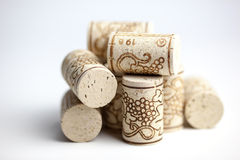 Cork Stoppers On White Stock Photography