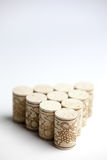 Cork stoppers on white Stock Photo