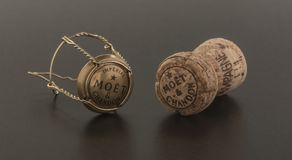 Cork and top from Moet and Chandon Brut Imperial champagne Stock Photo