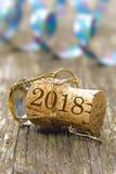 Cork van champagne bij nieuwe jarenpartij 2018 Stock Foto's