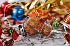 Cork van Champagne met decoratie stock foto