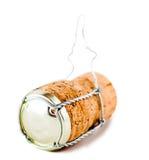 Cork van een champagneclose-up Stock Afbeeldingen