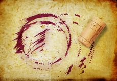 Cork and whine stains Royalty Free Stock Photography
