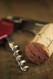 Cork wijn en kurketrekker Royalty-vrije Stock Foto