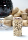 Cork from wine. Against the glass Royalty Free Stock Photos