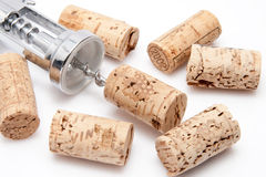 Cork of a wine bottle with corkscrew Royalty Free Stock Photo