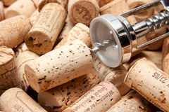 Cork of a wine bottle with corkscrew Royalty Free Stock Images
