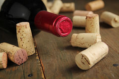 Cork wine and bottle of wine royalty free stock photography