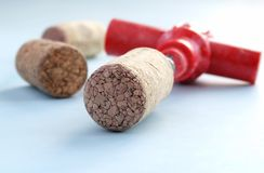 Cork from wine and a corkscrew Stock Photography