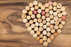Cork. Wine heart shape valentine`s day love bottle backgrounds Royalty Free Stock Photo