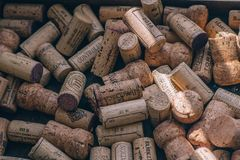 Cork from wine, background of wooden corks royalty free stock images