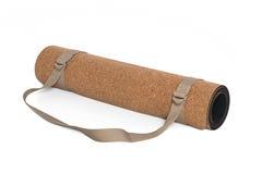 Cork Yoga Mat With Strap, Premium Eco Friendly. Product on White Background Stock Photo