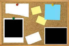 Corkboard. Cork-board with various pinned items Royalty Free Stock Images