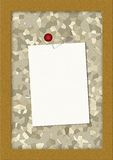 Corkboard with a blank note. Brown corkboard with a blank note Stock Photography
