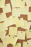Corkboard and blank paper notes. Stock Image