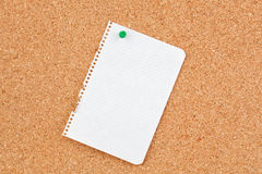 Corkboard with blank paper punch Royalty Free Stock Image