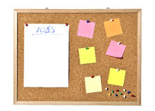 Corkboard. Cork board with blank paper, pins and post-it Stock Images