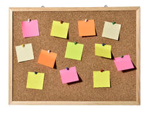 Corkboard. Cork board with blank pins and post-it Royalty Free Stock Photos