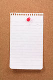 Corkboard and notepaper Stock Image