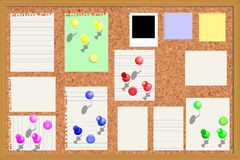 Corkboard with paper notes etc. Corkboard with paper notes, memo stickers and polaroid photos vector illustration