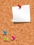 Corkboard with paper and pins Stock Image