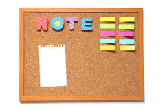 Corkboard with paper and wording note on white background Stock Photography