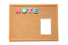 Corkboard with paper and wording note on white background Royalty Free Stock Photo