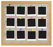 Corkboard and photos royalty free stock photo