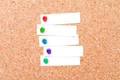 Corkboard with pins Royalty Free Stock Photography