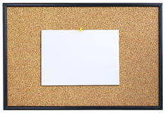 Corkboard with sheet of paper. Stock Images