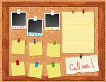 Corkboard with stickers and polaroid Royalty Free Stock Images
