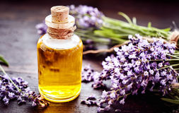 Corked bottle of lavender essential oil Royalty Free Stock Photography