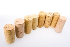 Corks. Used corks in a line royalty free stock photography