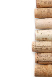 Corks background. Corks line over white. Drink background Stock Image