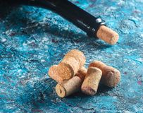 Corks for bottle of wine and wine bottle stock photography
