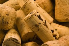 Corks Close Up 2. Random pile of traditional natural wine corks. Remains of a boozy birthday party Stock Images