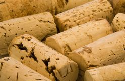Corks Close Up. Small arrangement of several natural wine corks. Remnants of a dinner party stock images