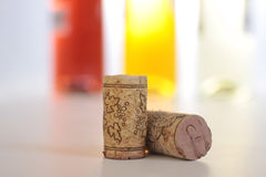 Corks with colored wine bottles Stock Image
