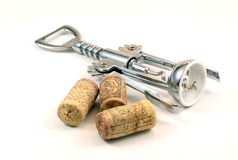 Corks and corkscrew Stock Photography