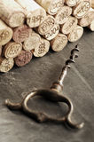 Corks and corkscrew Royalty Free Stock Images